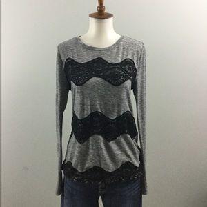 LOFT Gray tee with Black Lace Applique